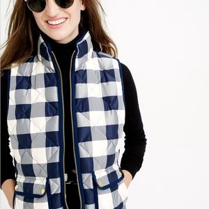 J crew excursion quilted vest navy buffalo check